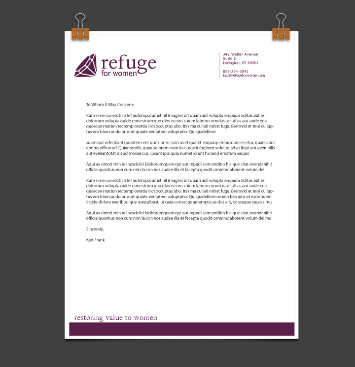 Refuge for Women Letterhead