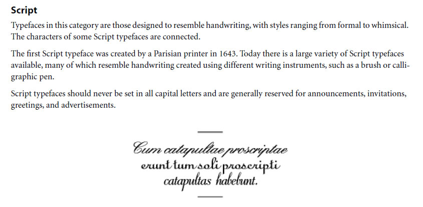 Script Typeface Classifications