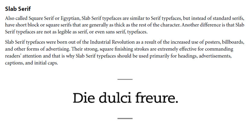 Slab Typeface Classifications