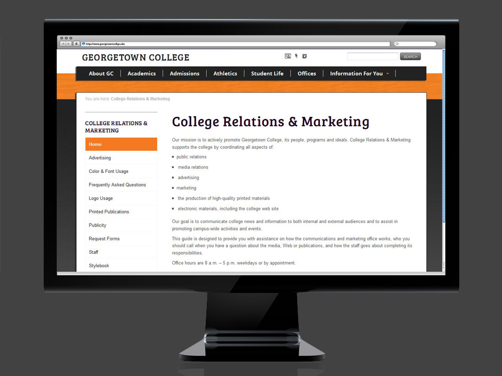 Georgetown College Website - desktop