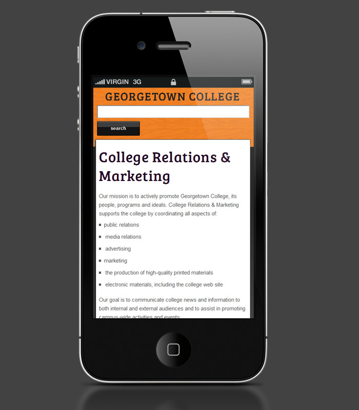 Georgetown College Website - mobile