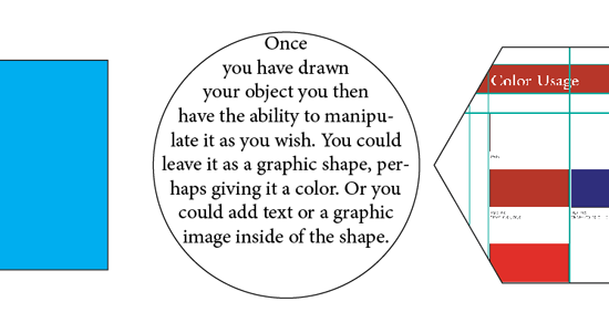 Three object shapes with three different types of content: color, text, and image
